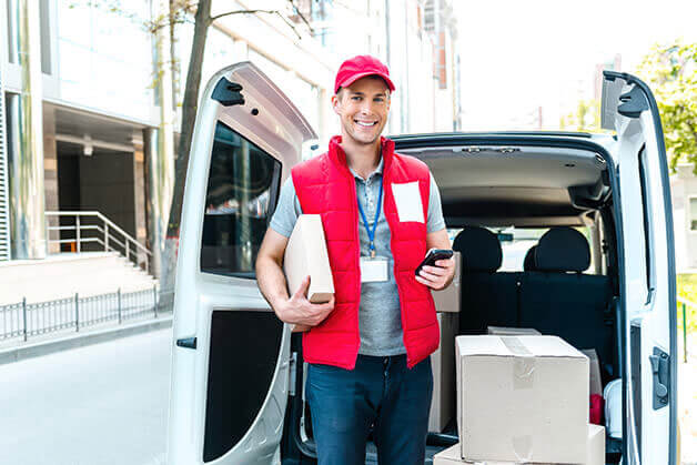 Courier loading van