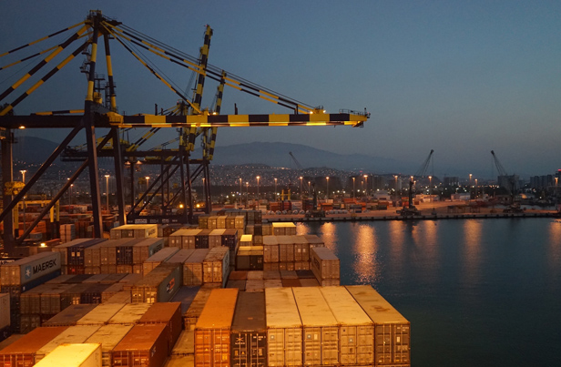 Containers representing export freight