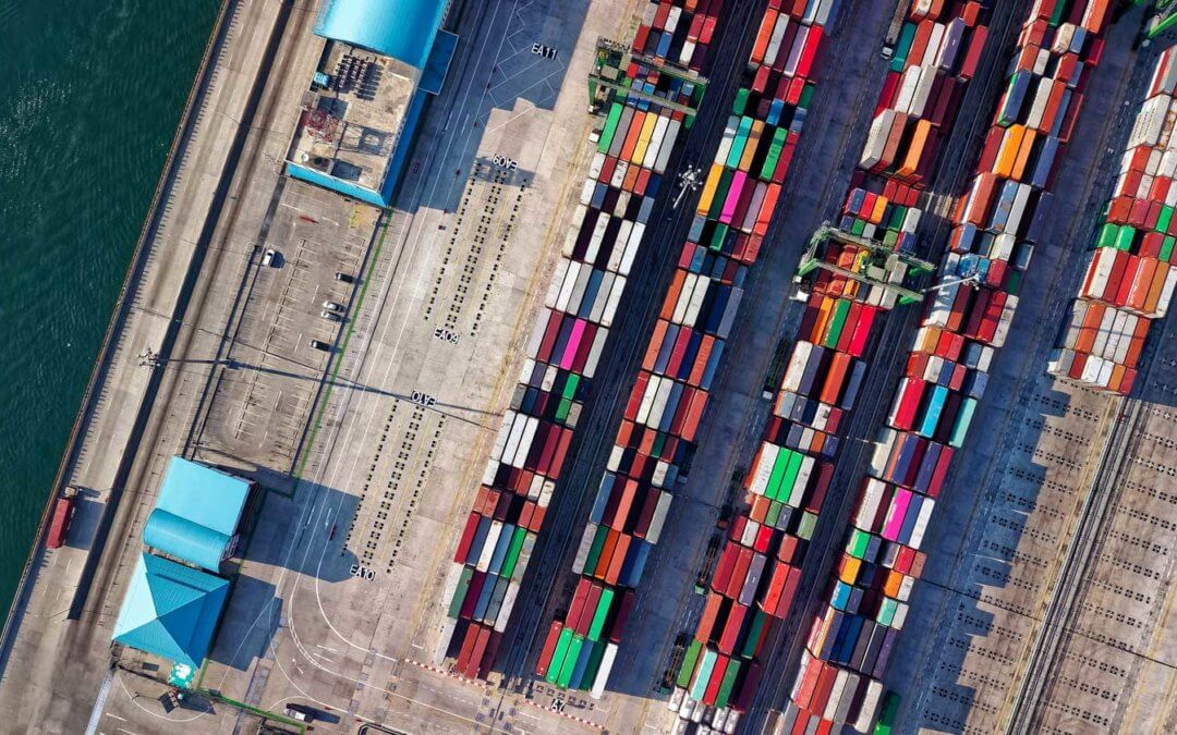 Top view of a port with stacked containers