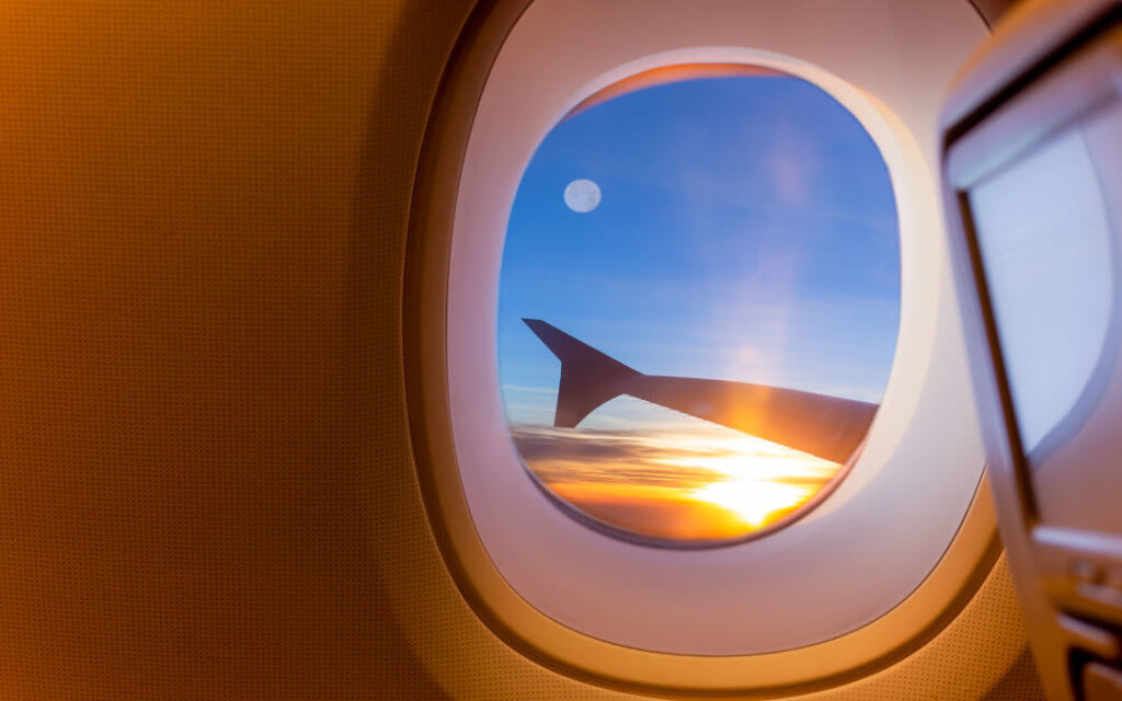 A view of the sky from inside an airplane